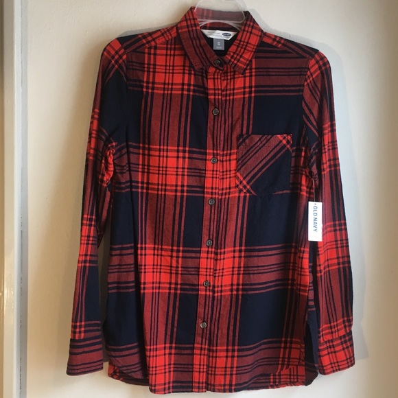 ac979e9e432 Brand New Womens Old Navy Red Blue Flannel SZ XS